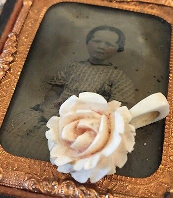 Gorgeous Antique Vintage Hand Carved Blush Rose Original Bale Natural Pendant