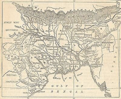 Antique Map, India, Bengal, Beher And Orissa 1898