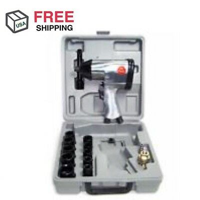 """1/2"""" Drive Air Impact Wrench With 10 1/2 Dr Sockets 1 Extension Bar Air Tool"""