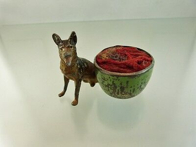 "ANTIQUE DOG & BOWL PIN CUSHION with horse hair ""as is"""