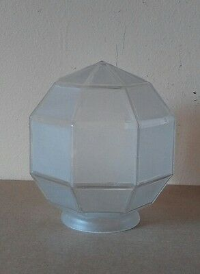 antq ART DECO geometric HEXAGON frosted GLASS ceiling LIGHT shade