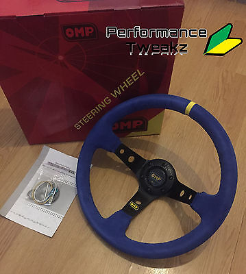 New Universal Blue Omp 350Mm Suede Deep Dish Racing Sport Steering Wheel Sparco