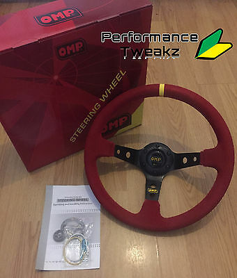New Universal Red Omp 350Mm Suede Deep Dish Racing Sport Steering Wheel Sparco