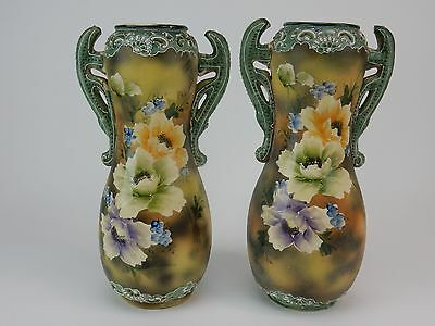 """Pair of Antique Meji Period Hand Painted Satsuma Vase with Moriage Handles 12"""""""