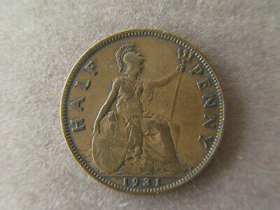 1931 Great Britain 1/2  penny coin