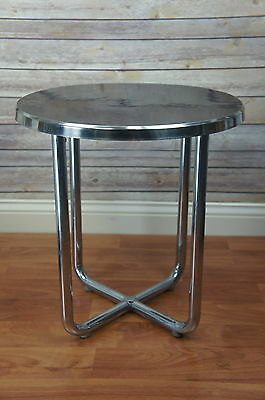 Vintage Art Deco Chrome Black Lacquer End Table Wolfgang Hoffman?