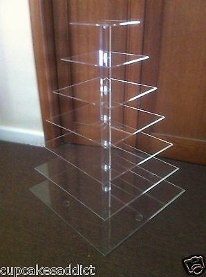 7 Tier Clear Acrylic Square Cupcake Cup Cake Stand Tower Wedding Party Display