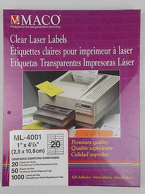 "Maco ML-4001 1000 Clear 1"" x 4 1/4"" Laser Labels Premium"