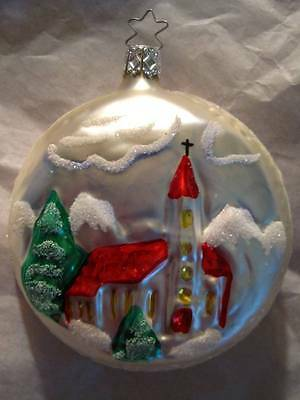 Inge Glas German Blown Glass Christmas Tree Ornament NOS Church on Large Disc