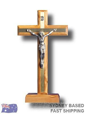STANDING CRUCIFIX Olive Wood and metal religious Cross 22cm BNWT