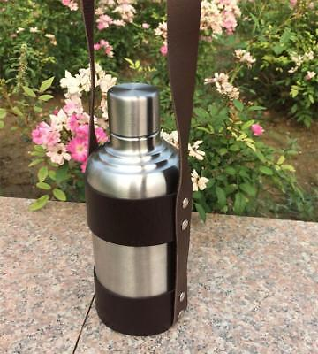 18Oz Stainless Steel Wine Whiskey Flask Bottle Flagon Kettle & PU Leather Case