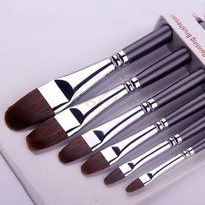 6Pcs/Set Red Weasel Hair Artist Art Paint Flat Brush For Watercolor Oil Acrylic