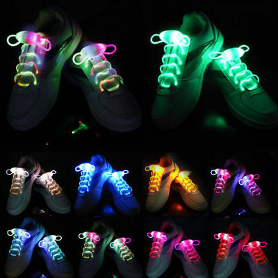 Hot LED Flash Glow in Dark Shoelaces Light Up Shoe Laces Disco Bar Party Skating
