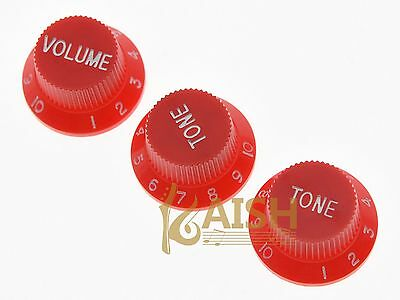 Red w/ White Number ST Strat Guitar Knobs Volume Tone Knob fits Stratocaster