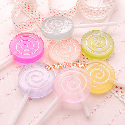 Big Swirl Fake Lollipops Decoration (Clear) | Candy Lollipops | Lollipop - 7pcs