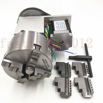 CNC Rotary Axis 4th axis 4 Jaw Router Rotational 100mm Ratio 4:1 NEMA34 CNC