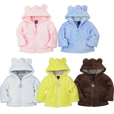 Kids Baby Boy Girl Hoodies Coral Velvet Coat Thick Jacket Warm Hooded Outerwear