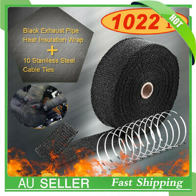 SUPER EXHAUST HEAT WRAP INSULATION 50MM X 10M + 10 STAINLESS STEEL TIES AU Local