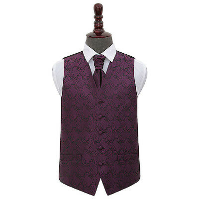 DQT Floral Paisley Purple Mens Wedding Waistcoat & Cravat Set FREE Pin
