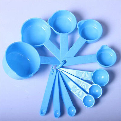 11Pcs/set Blue Plastic Measuring Cups Spoons Cooking Kitchen Baking Utensil Tool