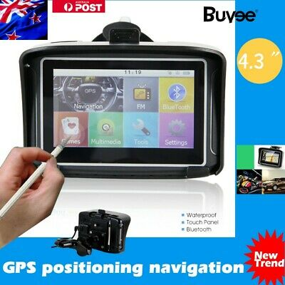 "4.3"" Touch Screen Motorcycle Car SAT NAV GPS Australia Maps Bluetooth Waterproof"