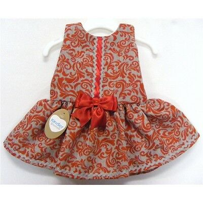 Girls Spanish Style Drop Waist Satin Bow Scroll Dress Grey And Red 12m To 4Yrs