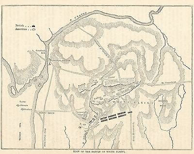 Antique Engraved Map/battle Plan, Battle Of White Plains, America 1776