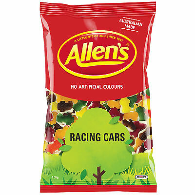 Allen's Racing Cars 1.3kg Lollies Allens & Snakes Alive 1.3kg Red Frogs, Chicos