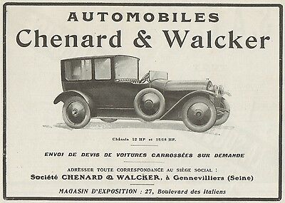 Y9987 Automobiles CHENARD & WALCKER - Pubblicità d'epoca - 1919 old advertising