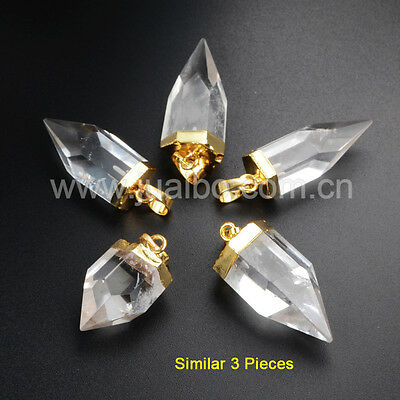 3Pcs Gold Plated Natural Rock Clear Quartz Crystal Faceted Point Pendant GG1009