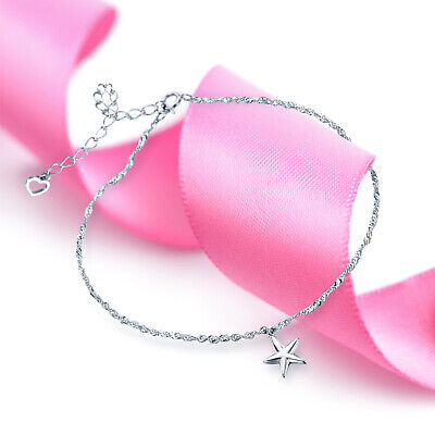 Fashionable Star Charm Drop Anklet 925 Sterling Silver UK Seller