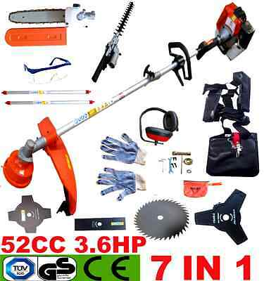 52CC 7in1 PETROL GARDEN MULTI TOOL HEDGE TRIMMER CHAINSAW STRIMMER BRUSHCUTTER