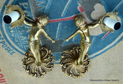 TWO French antique bronze cherub light fittings re wired 110-240v