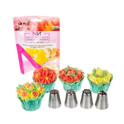4 x Nifty Nozzles - Flower Cake Decorating Icing Nozzles