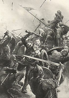 Antique Print, Battle Of Stamford Bridge 1066
