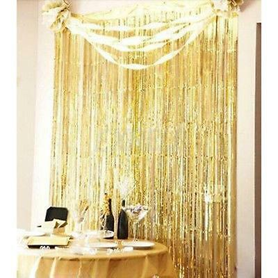3' X 8' Party Metallic Fringe Foil Shimmer Curtain Birthday Decoration Gold BG