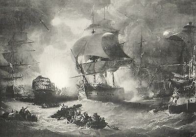 Antique Print,battle Of The Nile, Blowing Up The Orient 1798
