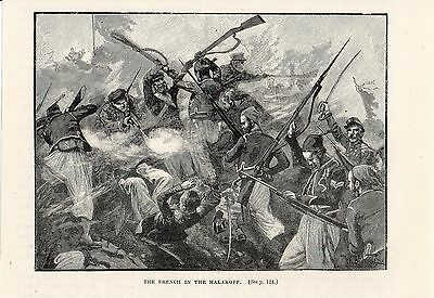 Crimean War, French Troops In The Malakoff 1855,antique Engraved Print
