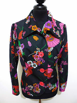 CULT VINTAGE '70 Giacca Donna Jersey Flower Woman Jacket Sz.M - 44