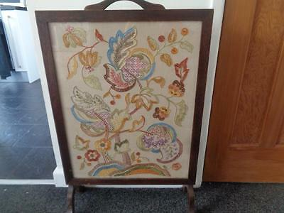 Oak Fire Screen With Embroided Design