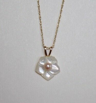 "14K Yellow Gold 3mm Pearl ""Flower"" Pendant Necklace 18"" - NEW"
