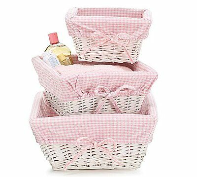 Set of 3 Baby Girl Nursery Storage Baskets - White Willow with Pink Gingham