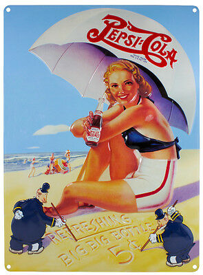Ande Rooney Pepsi Beach Lady Vintage Reproduction Metal Sign