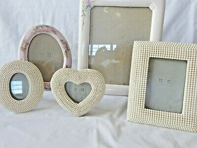 Lot of 5 ornate vintage photo frames ceramic & pearl wedding, family, kids, baby