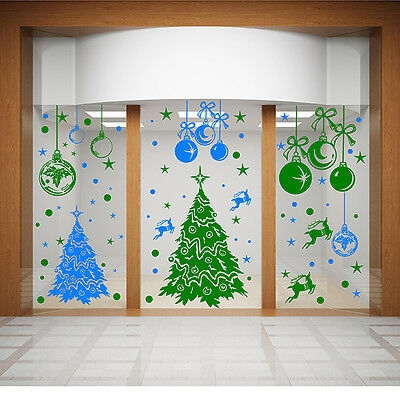 CHRISTMAS WALL STICKERS XMAS Shop Window Stickers XMAS TREE WALL STICKER  N86