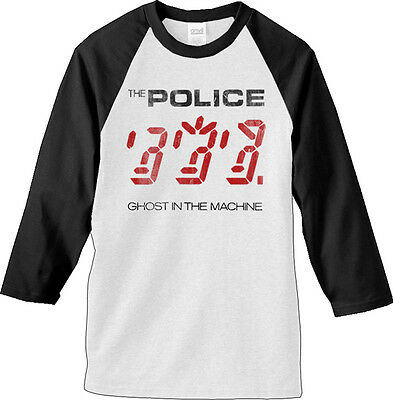 THE POLICE Machine Raglan 3/4 Long Sleeve T SHIRT M-L-XL New Hi Fidelity Merch