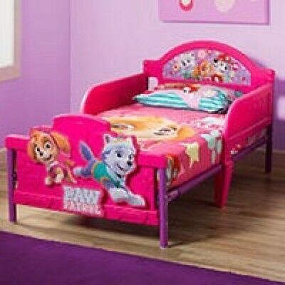 Toddler Bed Girls Paw Patrol Skye 3D Rails Headboard Pink Bedroom Furniture Sale