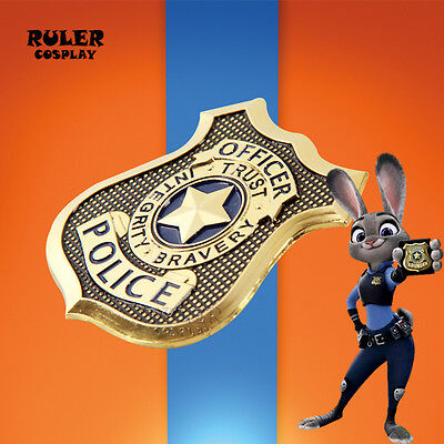 Zootopia Cosplay Rabbit Judy Hopps Police Officer Badge Props Brooch Gift