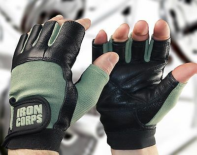 "Weight Lifting Gloves/ Workout Gloves - Ironcorps® ""iron-Grip"" - Leather + Mesh"