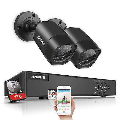 """ANNKE 4CH 2XWireless CCTV Camera 7""""LCD Monitor DVR Motion Detect Home Security"""